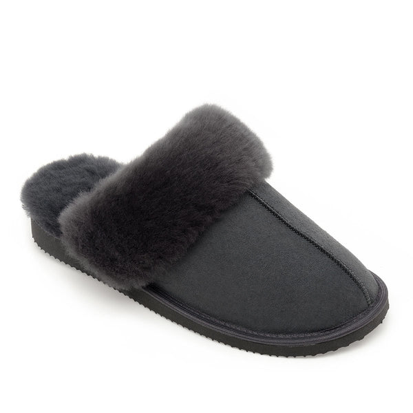 NEW Ines Sheepskin Cuff Mules - Graphite