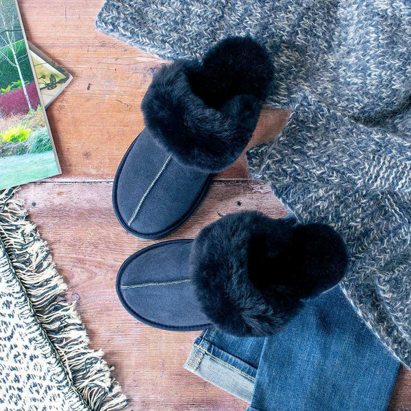 NEW Ines Sheepskin Cuff Mules - Midnight Navy