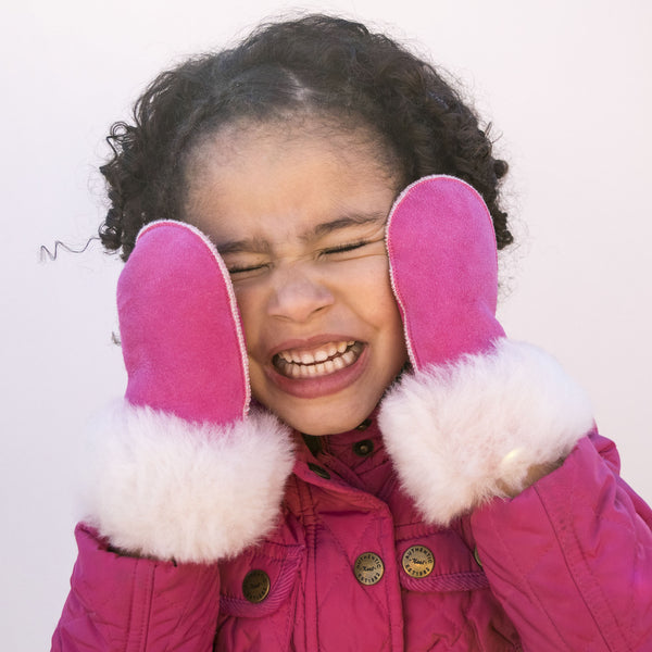 Children's Sheepskin Suede Mittens - Bright Pink
