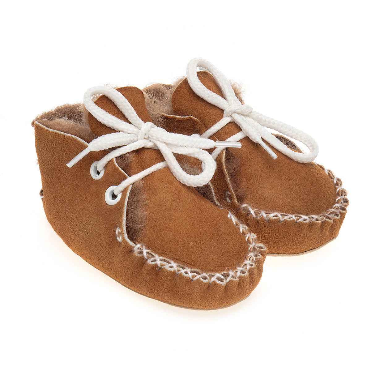 Lupe Hand-Stitched Sheepskin Baby Booties - Honey