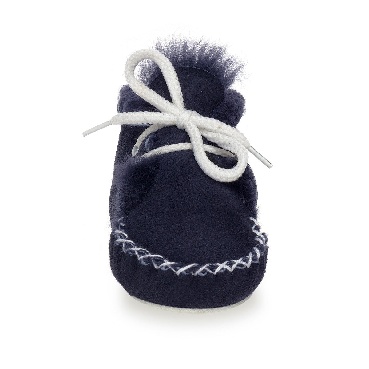 Lupe Hand-Stitched Sheepskin Baby Booties - Navy