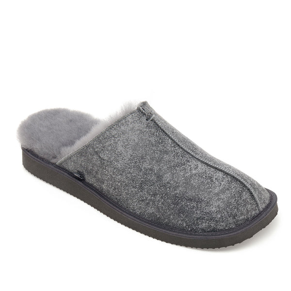 NEW Machar Sheepskin Slippers - Grey Distressed Leather
