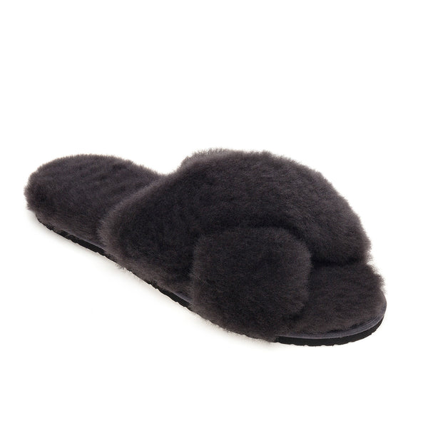 Sula Sheepskin Cross Slider Slippers - Graphite Grey
