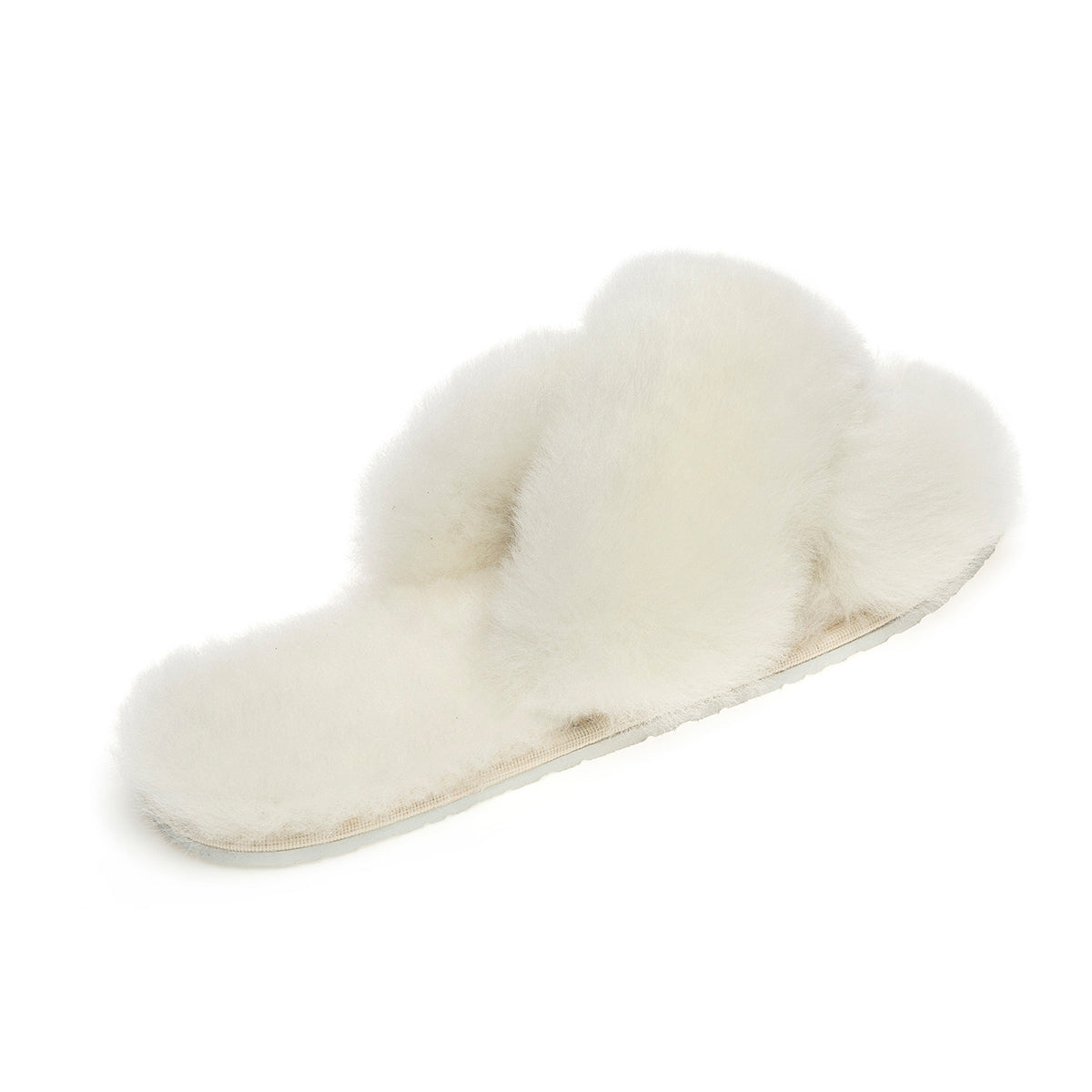 Sula Sheepskin Cross Slider Slippers - Natural