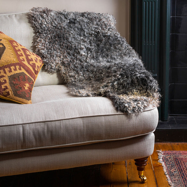 Swedish Gotland Curly Sheepskin - Dark/Mid Grey