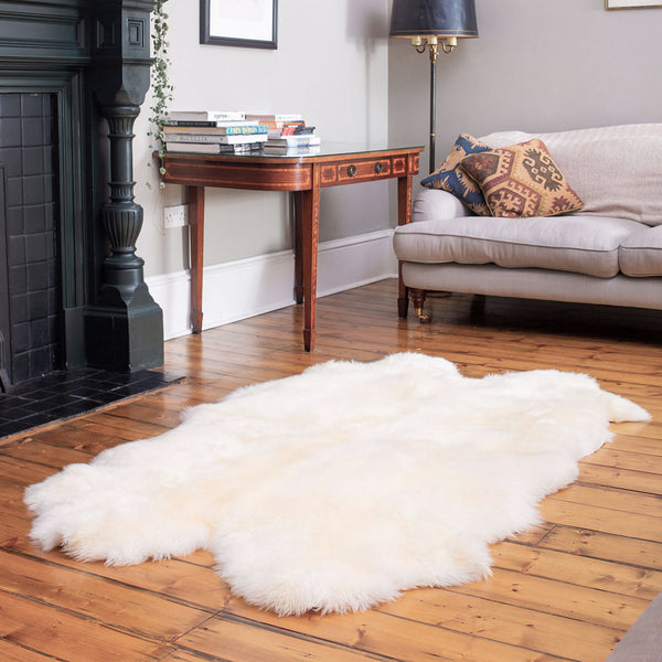 Natural White Quad Sheepskin Rug