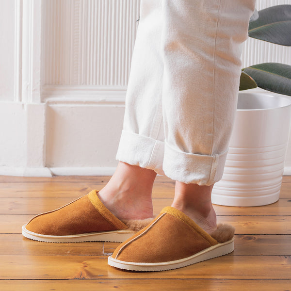 Baffie Mule Sheepskin Slippers - Chestnut