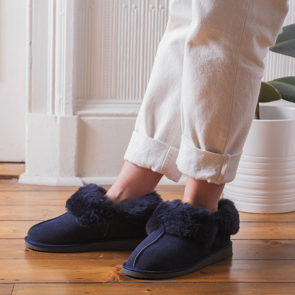Gael Sheepskin Slippers - Midnight Navy