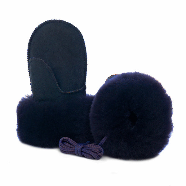 Children's Sheepskin Suede Mittens - Navy