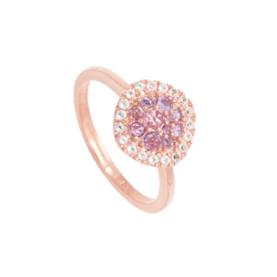 Bague améth+topaze bla or375 rose