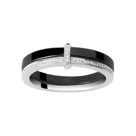 Bague Céramique + Diamants 0.08ct