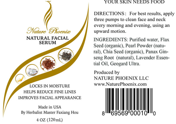 Natural Facial Serum 4 oz (118 ml) Free Shipping