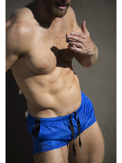 men's blue short shorts