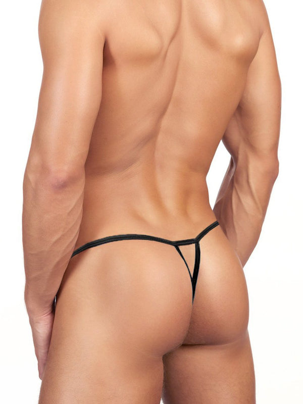 men's black camouflage satin g-string