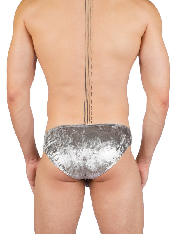 Men's silver metallic crushed velvet tanga underwear
