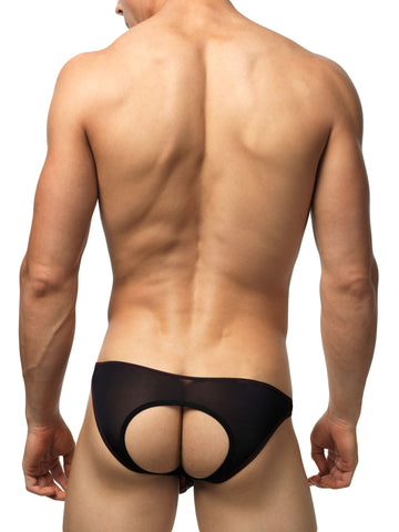 Men's black see through bikini cut jock brief underwear