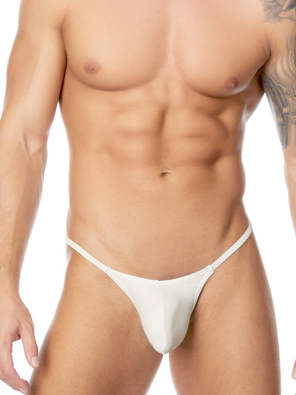 Men's white pleather g-string