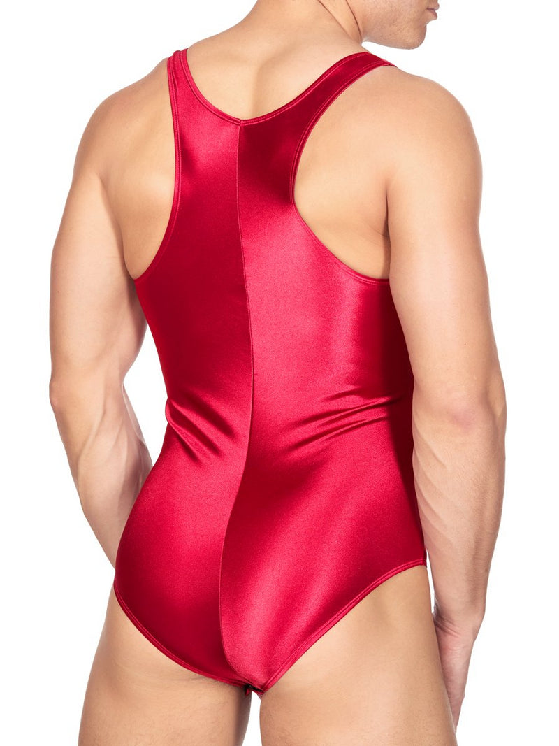 Men's Red Satin Bodysuit