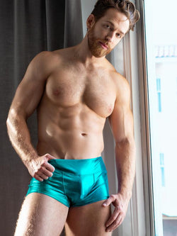 men's blue metallic shorts