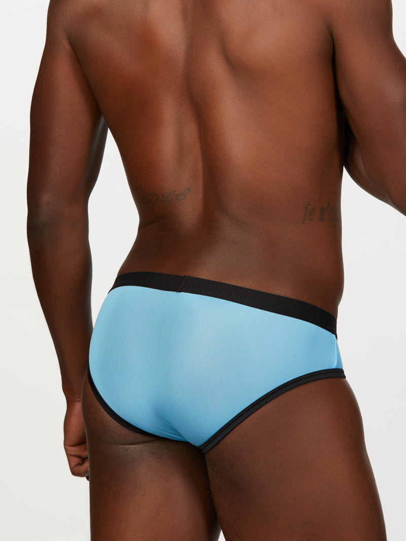 Men's blue see thru brief