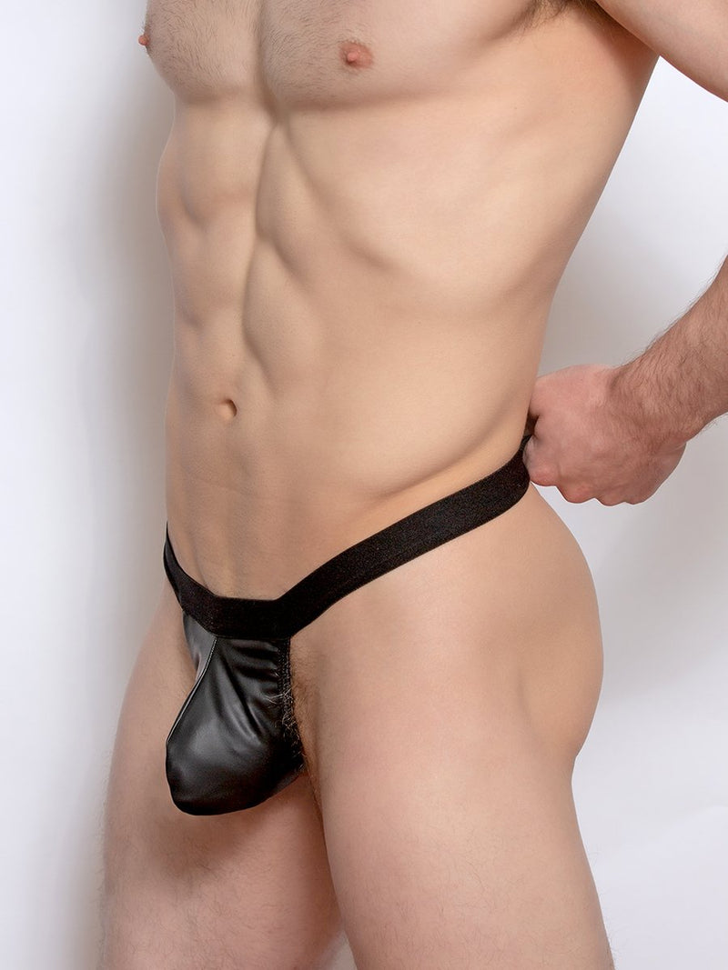 men's black pleather thong underwear