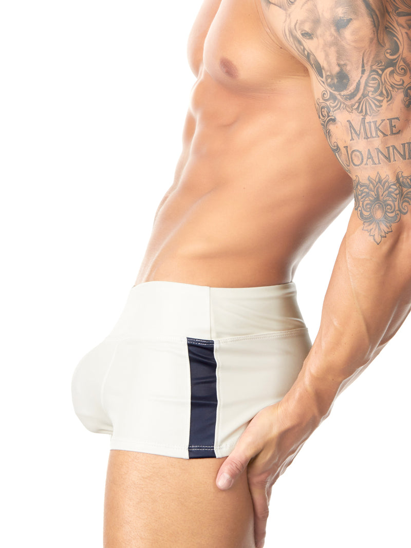 men's white pleather shorts