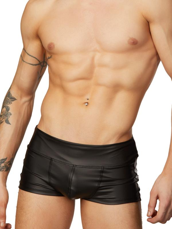 men's black pleather shorts