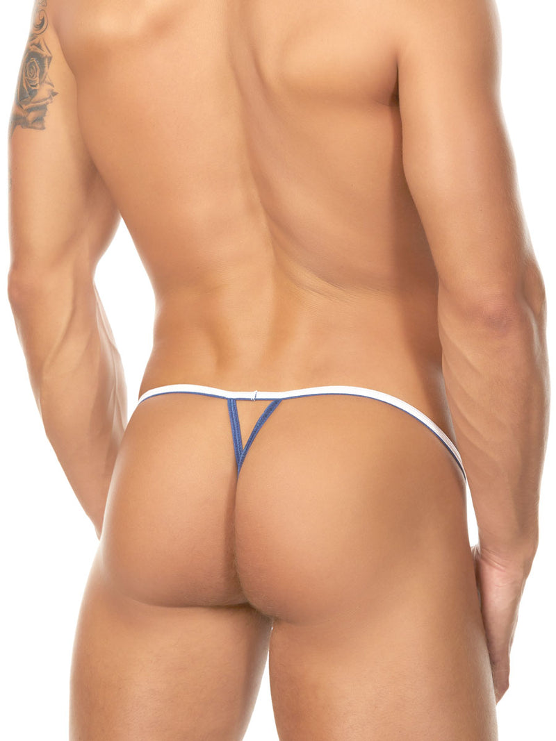 Men's white pleather v-string