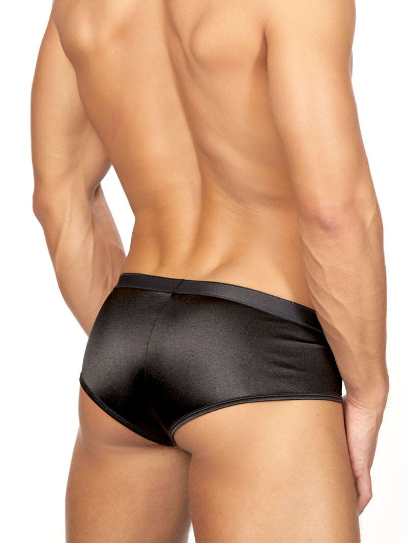 Men's black satin brief