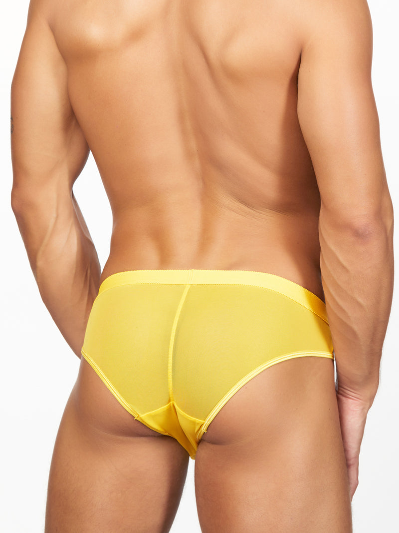 Men's yellow mesh brief