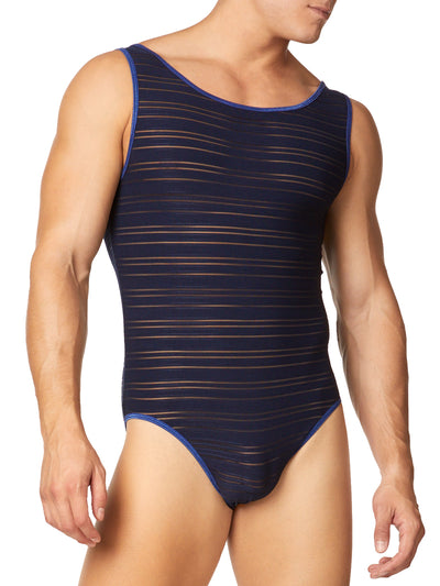 Men's Striped Mesh Bodysuit