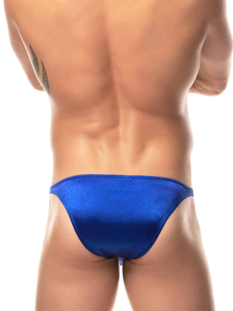 Men's blue satin bikini briefs