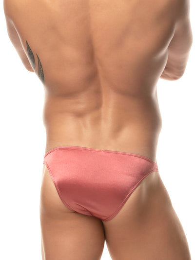 Men's pink satin bikini briefs