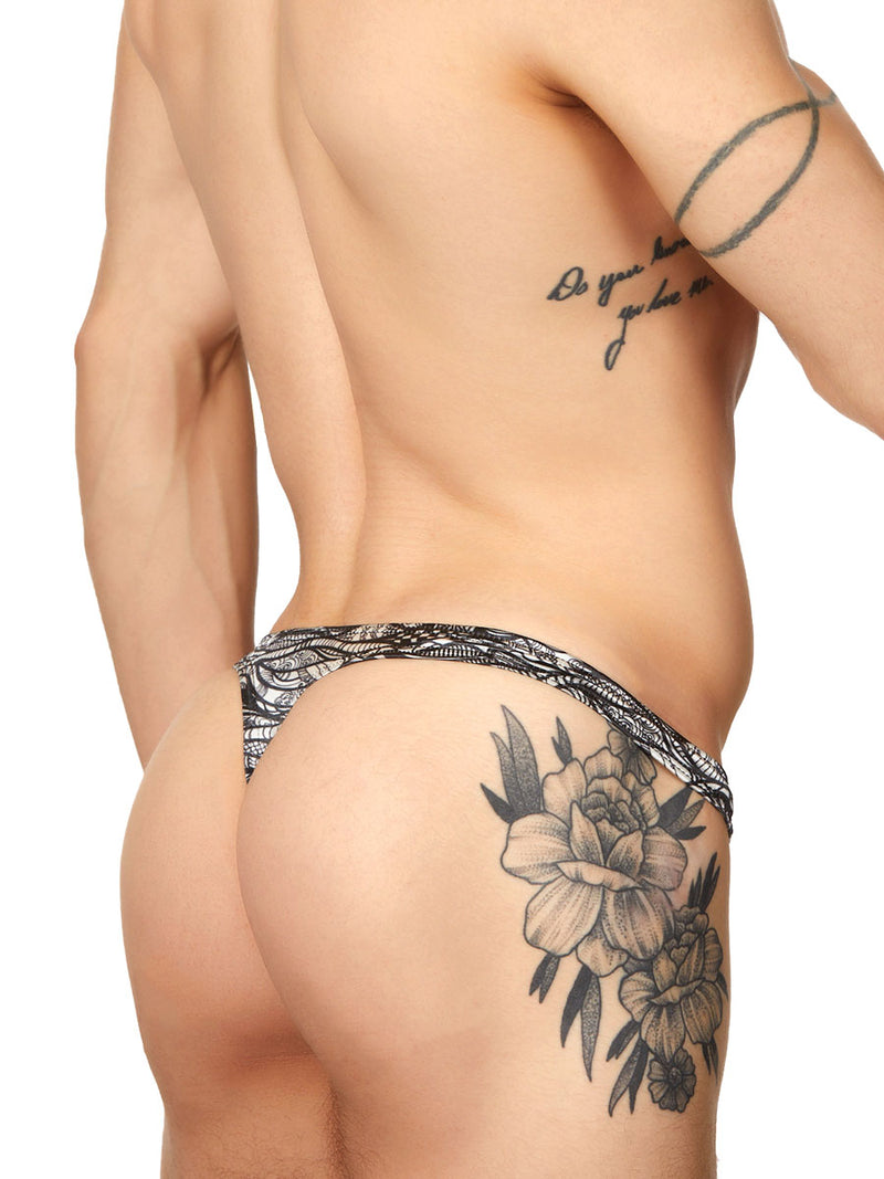 Sleek Print Satin Thong