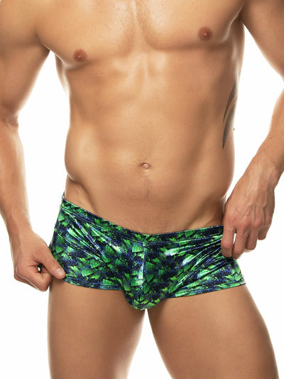 men's green satin print boxer briefs