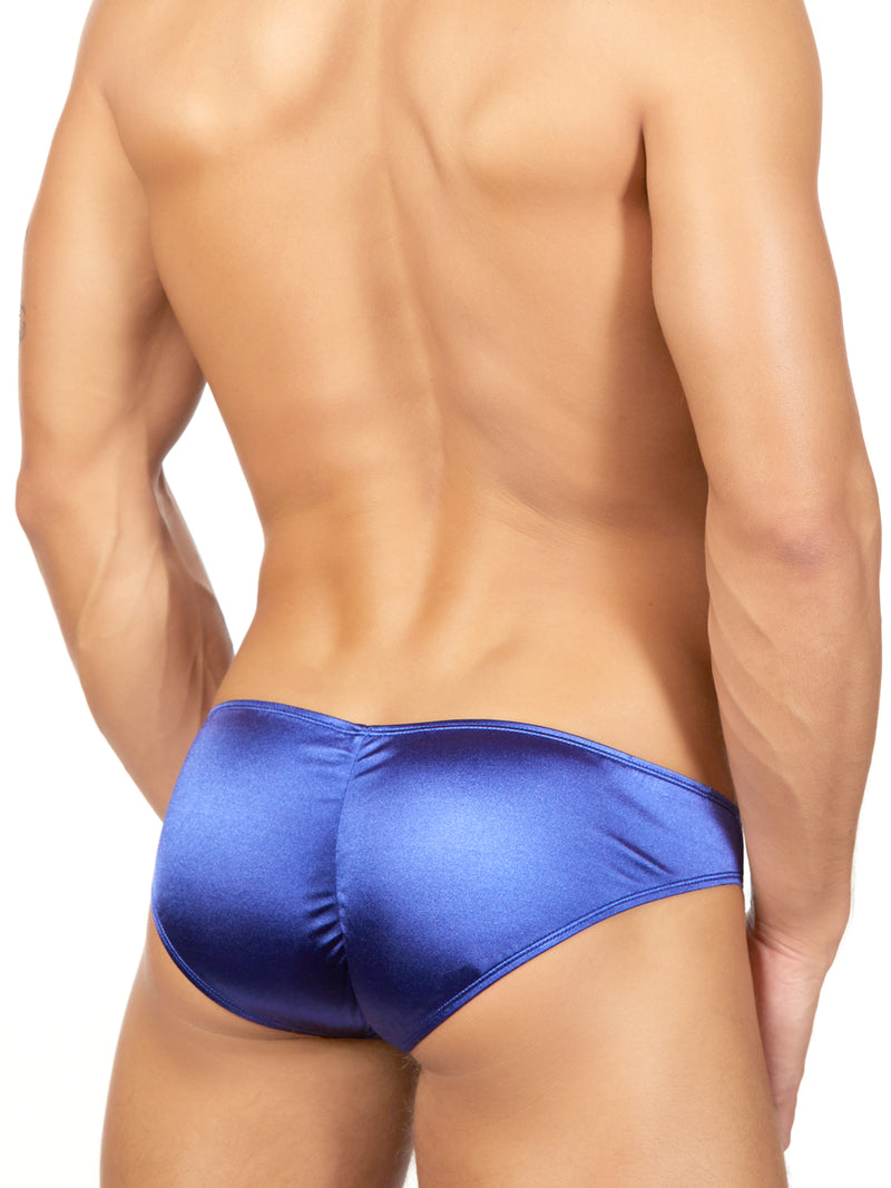 Men's navy blue satin briefs