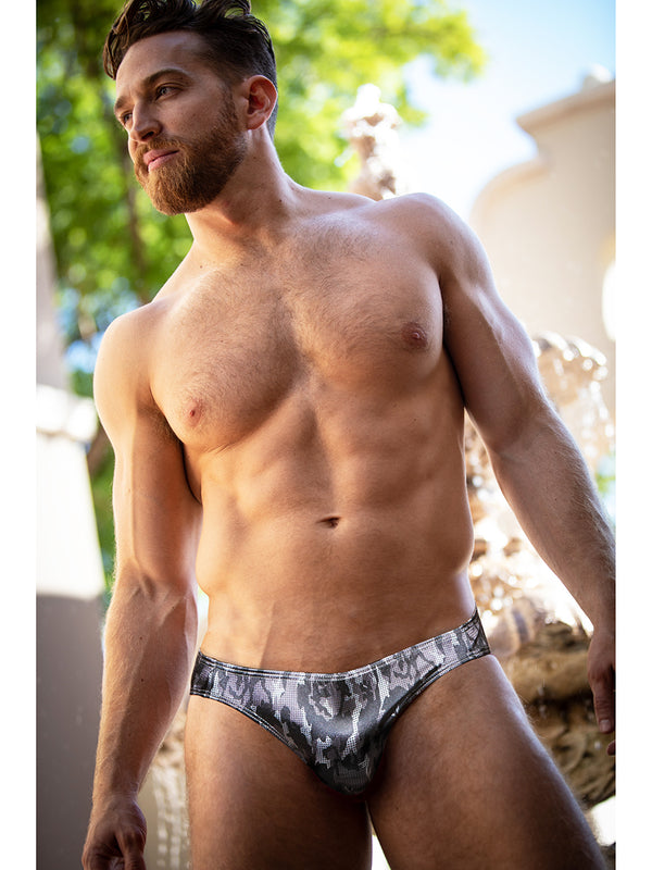 men's satin camo print briefs