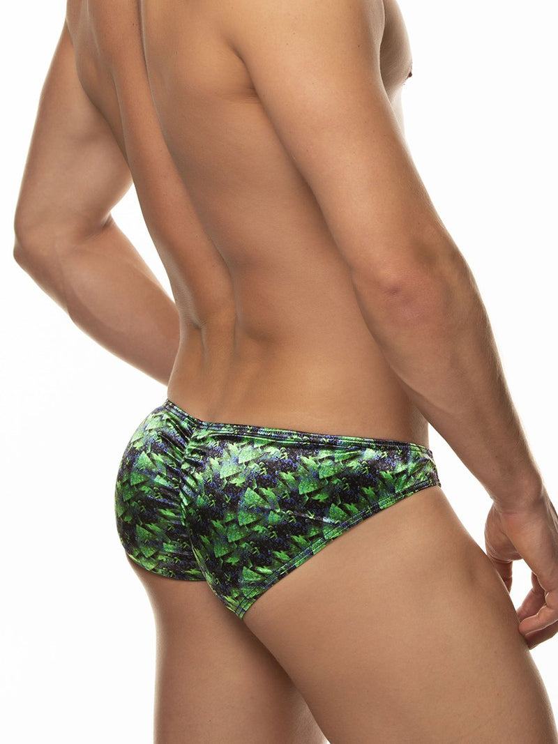 Men's green satin print bikini briefs