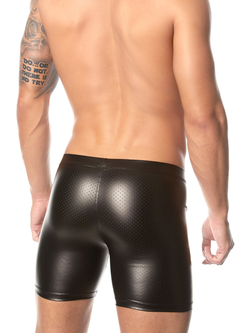 Men's black pleather bike short