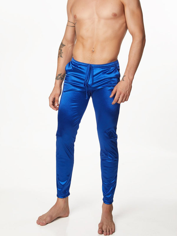 Men's Blue Satin Leggings