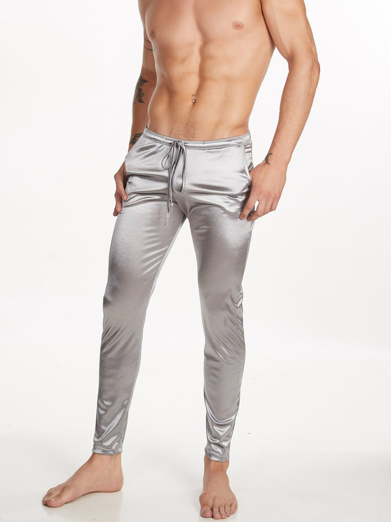 Men's Silver Satin Leggings