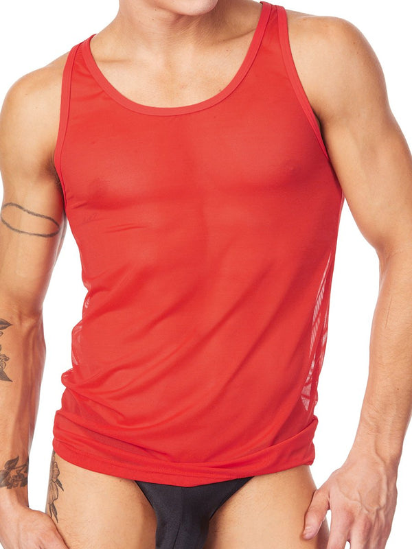 Men's red see through mesh tank top