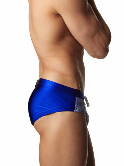 Men's sexy blue patterned drawstring swim brief