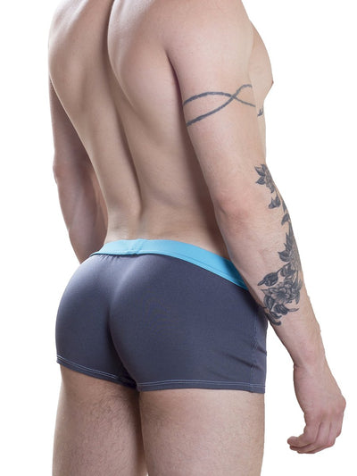 Men's blue retro swim trunks