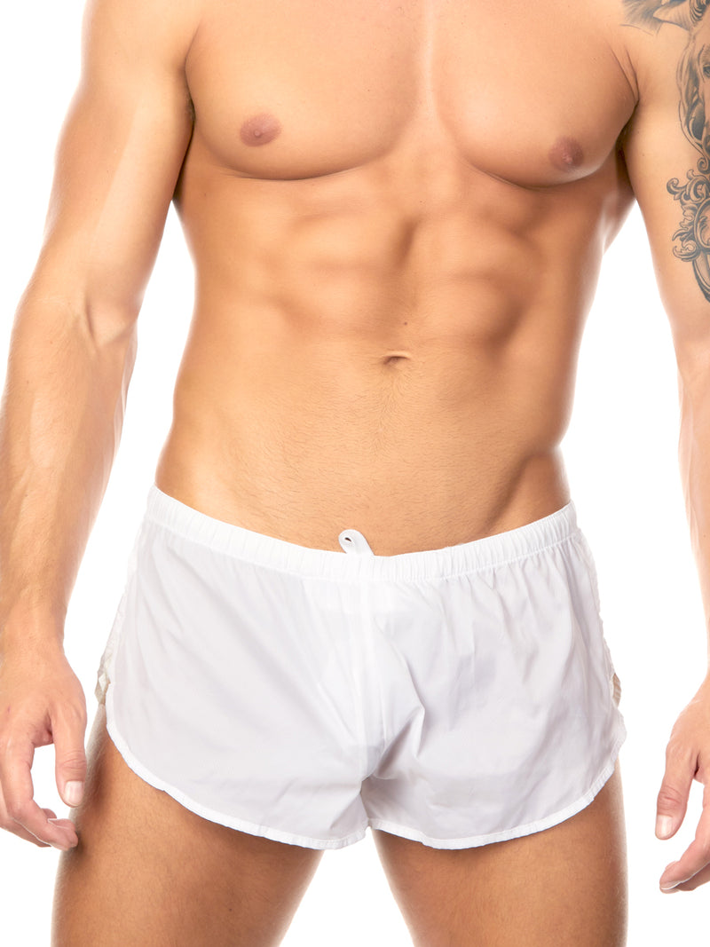 Men's white nylon shorts