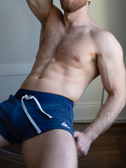 men's navy blue sweat shorts