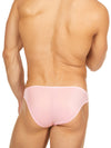 Men's pink shiny satin bikini cut brief panties