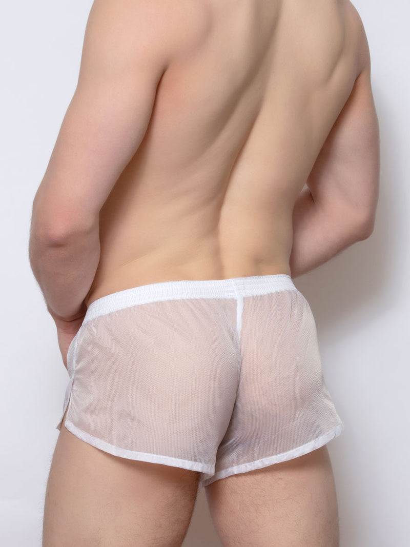 men's white nylon boxers