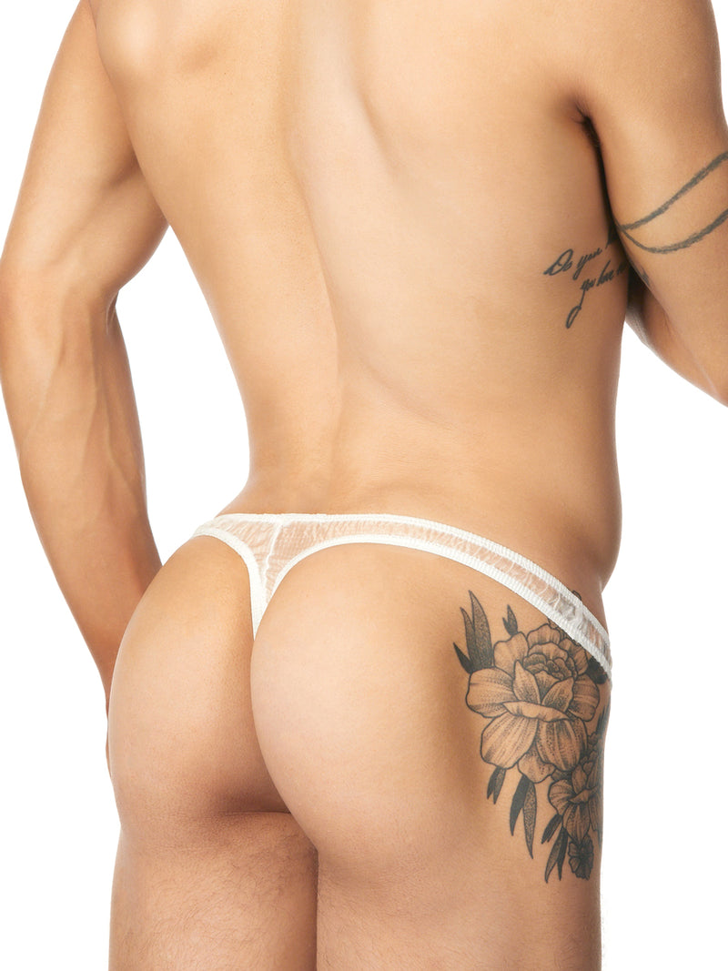 Men's white nylon thong