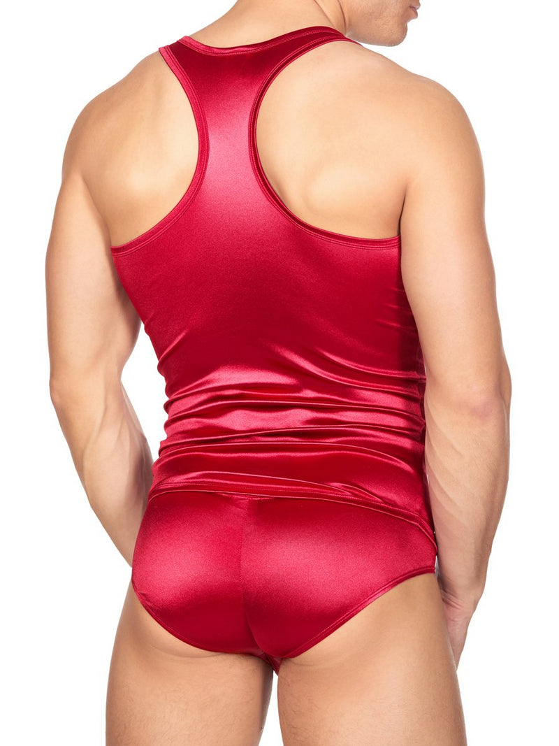 Men's Red Satin Tank Top